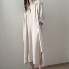 ロング シャツワンピース ドレス レディース 大きいサイズ マタニティ 袖あり オーバーサイズ リネン 無地