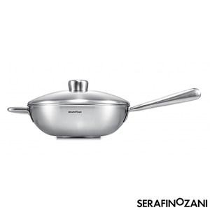 【SERAFINO ZANI】恆温長柄中式不鏽鋼炒鍋28cm