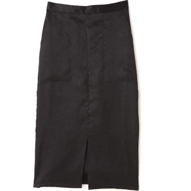 ミディ丈光沢スカート ブラック