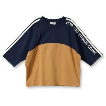 ブランシェス 切り替え配色8分袖Tシャツ(90~150cm) レディース ネイビーブルー 130cm 【branshes】
