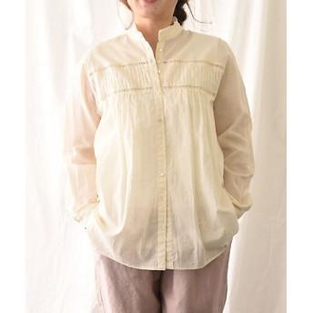 【送料無料】<BASCO> 大きいサイズ リーピブラウス クリーム ピンタック×はしごレースのデザインシャツブラウス クリーム【三越・伊勢丹/公式】