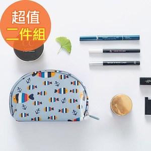 【韓版】可愛繽紛防潑水輕便貝殼化妝包(4色)二入組-魚兒+小雞