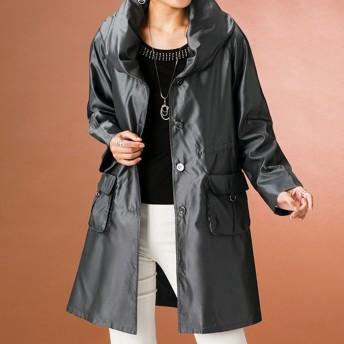 ベルーナ シャンブレーデザイン衿コート<ケユリー> グレー系 L レディース