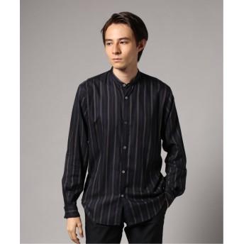 エディフィス マルチストライプバンドカラーシャツ メンズ ネイビー S 【EDIFICE】