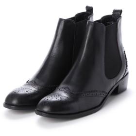 エーシーデザイン バイ アルファキュービック ALPHA CUBIC glitter 本革 ウィングチップデザインショートブーツ (ブラック)