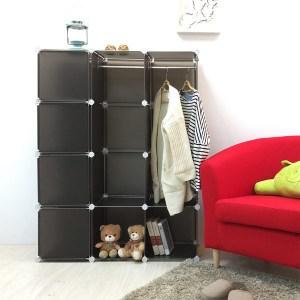 【H&R安室家】魔術空間12格衣櫥組合櫃(附門4片)紅色