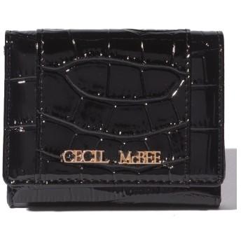 CECIL McBEE 型押しデザイン3つ折りウォレット(ブラック)【返品不可商品】