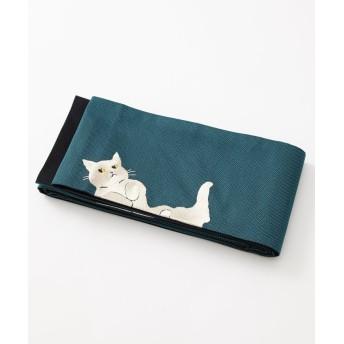 ふりふ 半巾帯「ごろん猫」 レディース ターコイズブルー F 【FURIFU】