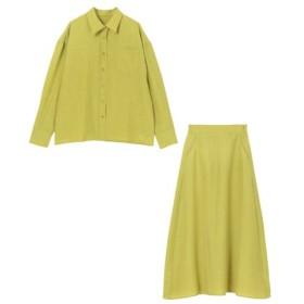 (ur's/ユアーズ)リネンライクシャツ×スカートセットアップ/レディース グリーンイエロー