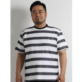 【GRAND-BACK:トップス】【大きいサイズ】ヘリンボンボーダークルーネックTシャツ