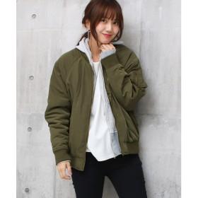 ソーシャルガール Social GIRL 中綿キルトオーバーサイズラグランMA-1 (カーキ)