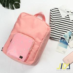 【韓版】時尚輕旅行全方位可後背式行李袋/拉桿收納包(粉色)