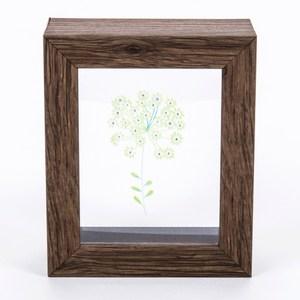 Flora 芙蘿拉透明壓花相框 二入組 深木紋