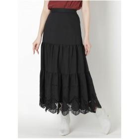 MERCURYDUO カットワークティアードスカート(ブラック)