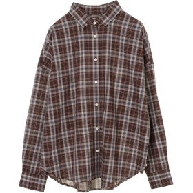 アースミュージックアンドエコロジー earth music & ecology iroiroコットン2WAYシャツ (Check Brown)