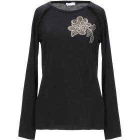 《期間限定セール開催中!》DIANA GALLESI レディース T シャツ ブラック 40 テンセル 67% / コットン 33%