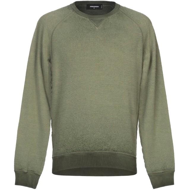 《セール開催中》DSQUARED2 メンズ スウェットシャツ ミリタリーグリーン S コットン 100% / ポリウレタン