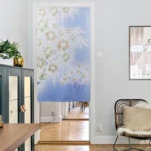 【三房兩廳】日式門簾-藍色夢幻櫻花-85×150cm