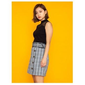 セシルマクビー チェック台形スカート(グレー)