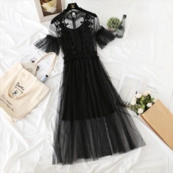ドレス ワンピース 大きいサイズ XLサイズ シフォン マキシ丈 刺繍 半袖 レース 花柄 大人きれいめ 結婚式 パーティー二次会 女子会 オル