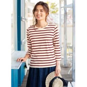 【レディース】 インド綿七分袖Tシャツ - セシール ■カラー:ベージュ×レッド ■サイズ:M,LL,3L