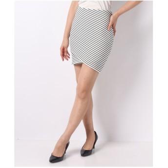 CECIL McBEE ストライプタイトスカート(オフホワイト)【返品不可商品】