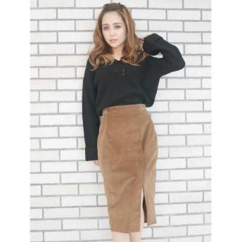リゼクシー RESEXXY ベーシックコーデュロイスカート (ブラウン)