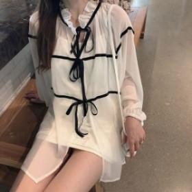 新作! シフォンワンピース インナーキャミ付き 2WAY ミニ丈 オルチャン 韓国ファッション プチプラ 2019秋 TA08038