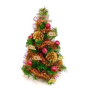 【摩達客】台灣製迷你1尺(30cm)裝飾綠色聖誕樹(紅金松果色系)(免組裝/本島免運費)