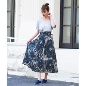 HAPPY急便 いつもと違う、私のプリント柄。バンダナ柄スカート/スカート フレアスカート プリント バンダナ レディース ボトムス ミモレ丈 レディース 5,000円(税抜)以上購入で送料無料 フレアスカート 夏 レディースファッション アパレル 通販 大きいサイズ コーデ 安い おしゃれ お洒落 20代 30代 40代 50代 女性 スカート