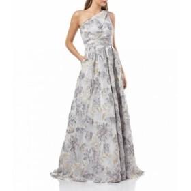 カルメンマークボルボ Carmen Marc Valvo レディース パーティードレス ワンピース・ドレス One Shoulder Floral Embroidery Organza Bal