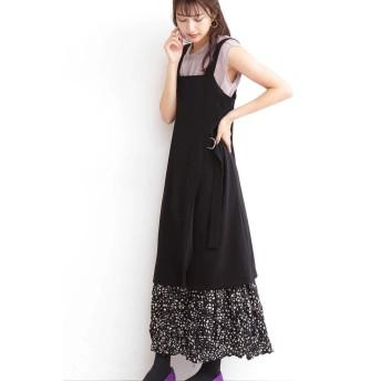 【公式/エヌ ナチュラルビューティーベーシック】サイドスリットジャンパースカート/女性/ワンピース/ブラック/サイズ:M/ポリエステル 94% ポリウレタン 6%