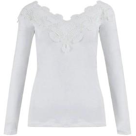 AngelSpace レディースロングスリーブレーストリムVネックスキニースキニーセクシーTシャツ White L