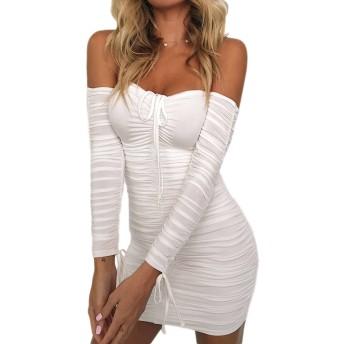 YACUN ショルダーロングスリーブbodyconカクテルパーティーのドレスの女性 White XL