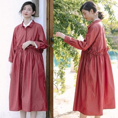外套-漿果紅進口高密棉薄風衣中長版-設計所在