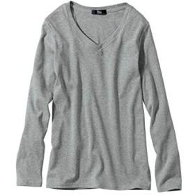 [nissen(ニッセン)] 綿100% Vネック Tシャツ 大きいサイズ レディース 杢グレー LL