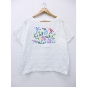 古着 レディース 半袖 チュニック 80年代 鳥 花 手縫い刺繍 白 ホワイト 中古 トップス チュニック トップス 古着