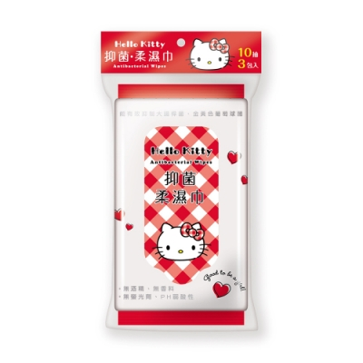 Sanrio 三麗鷗 Hello Kitty 凱蒂貓 抑菌隨手包濕紙巾 10抽X48包/組