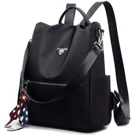 女性バックパック財布防水オックスフォード盗難防止リュックサック軽量級学校かばんカジュアル旅行バッグ流行 (黒色)