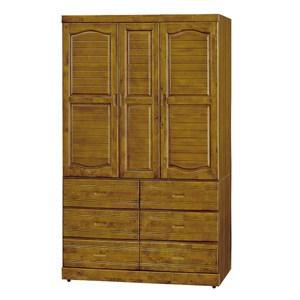 【obis】霍普樟木色4x7尺三門六抽衣櫥(衣櫃 櫥櫃)樟木色 4x7尺