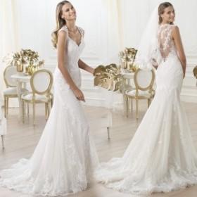 高級品★マーメイドライン ウエディングドレス 白 ホワイト 花嫁ドレス 結婚式 披露宴 ウエディングドレス  ロングドレス
