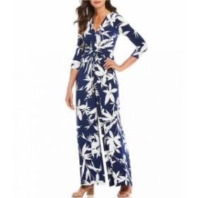 エリザジェイ Eliza J レディース オールインワン ワンピース・ドレス Floral Print Jersey Knot Front Jumpsuit Navy