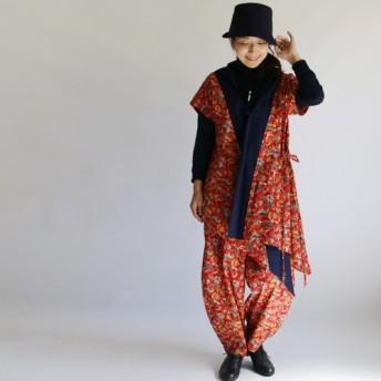 ●秋PRICE●セットアップ コットン100% バティック柄 カシュクール&ボールパンツ作務衣G42B