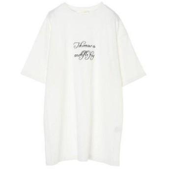 グリーンパークス Green Parks ・Petit Fleur ロゴpt チュニックTシャツ (Off White)