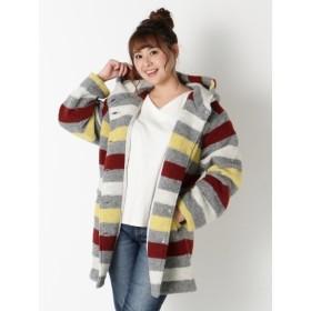 【大きいサイズレディース】【4L-5L】毛布のような暖かさカジュアルにもスポーティにもOK【ウール混フード付きコート】 アウター ウールコート