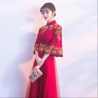 2019春 新品 優雅 刺繍 パーティードレス スレンダーライン ワンピース ワンピース 袖なし エレガント 結婚式ドレス お呼