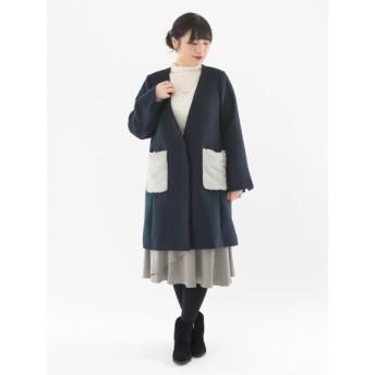 【大きいサイズレディース】【LL-5L展開】ポケットファーコート 大きいサイズ アウター ウールコート