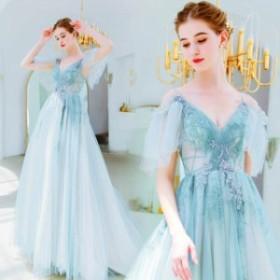 発表會 結婚式 花嫁 グリーン ウエディングドレス ロングドレス パーティードレス 二次會 マキシ丈 ワンピース 大きいサイズ