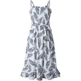 Romancly 女性ストラップ付きラッフル葉バギービーチドレスパターンタンクドレス Black M