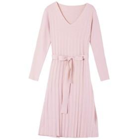 Harajuku Secret レディース ニット セーター ドレス Vネック 長袖 (LL, ピンク)